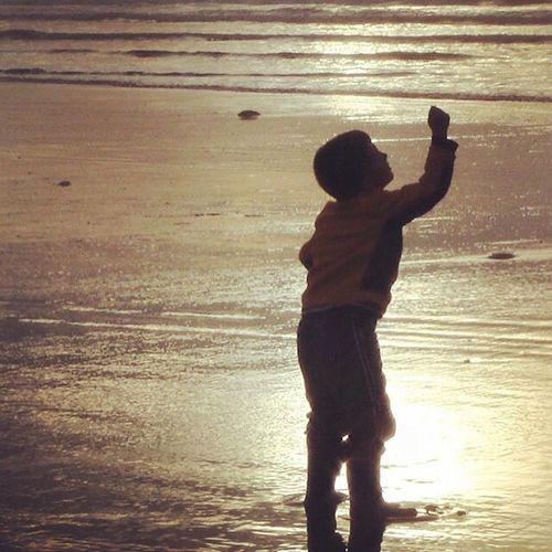My son on the beach. Mobile Photography IPhoneography IPhone Photography Ocean Beachphotography Beach Sand Shoreline Boy On Beach Beachboy Kidsphotography Family