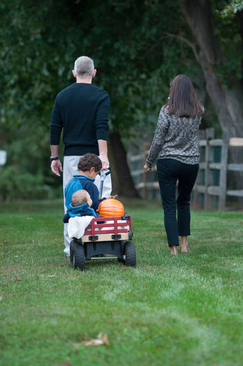 Parents Pulling Their Children in a Wagon Family Mother Relationship Adult Child Childhood Father Full Length Nature Outdoors Parents People Real People Rear View Spring Summer Togetherness