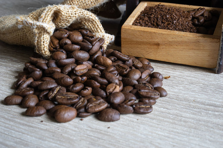 close up coffee beans with sack on wooden background Copy Space Abundance Bag Brown Caffeine Close-up Coffee Coffee - Drink Coffee Beans Food Food And Drink Freshness High Angle View Indoors  Large Group Of Objects Minimal No People Roasted Roasted Coffee Bean Sack Seed Still Life Table Wood - Material