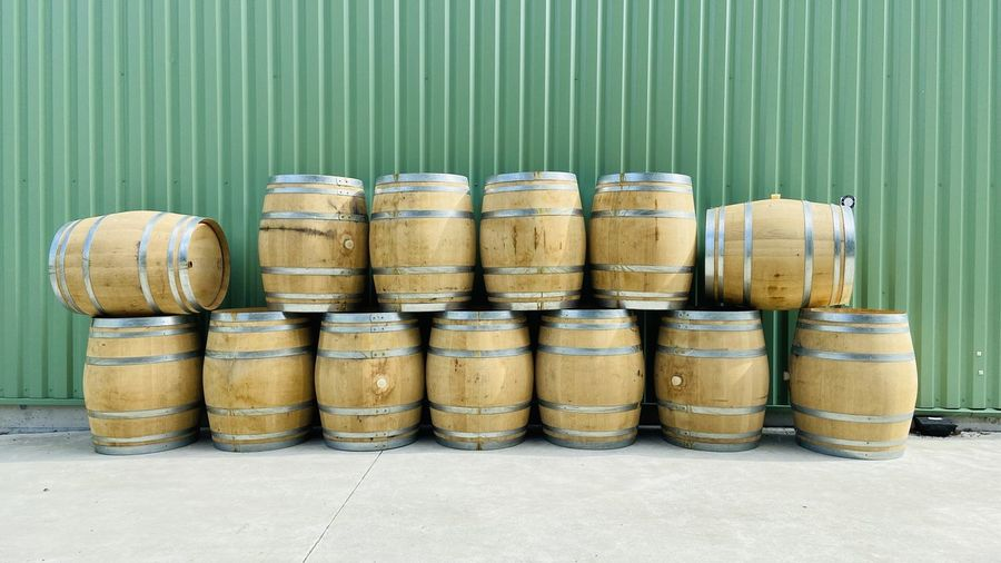 Stack of wine in row
