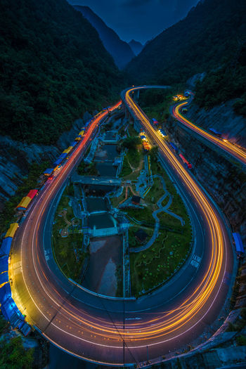 Waiting the dark Mountain Road Illuminated Transportation Long Exposure No People Speed Nature High Angle View Light Trail Motion Night Highway Architecture Outdoors Street Mountain Range Kelok 9 Padang, Indonesia