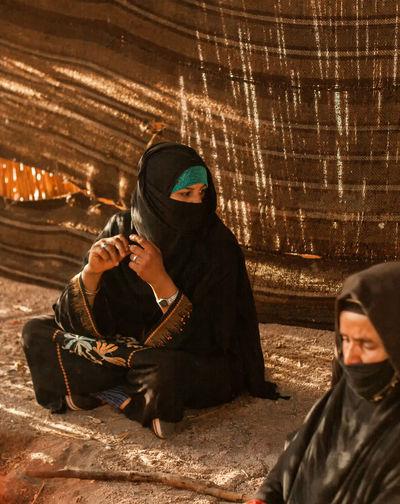 womens freedom Arabian Hidjab Muslim Womens Arabian Desert Old Woman Sun Shines Sitting Men Mask Disguise