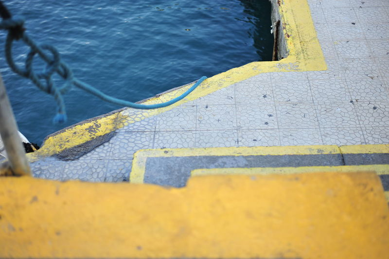Close-up high angle view of yellow water