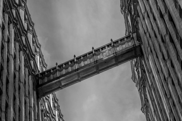 """""""Bridge in the Sky"""" Architectural Column Architecture Bridge - Man Made Structure Building Exterior Built Structure City Cloud - Sky Day Low Angle View No People Outdoors Sky Transportation"""