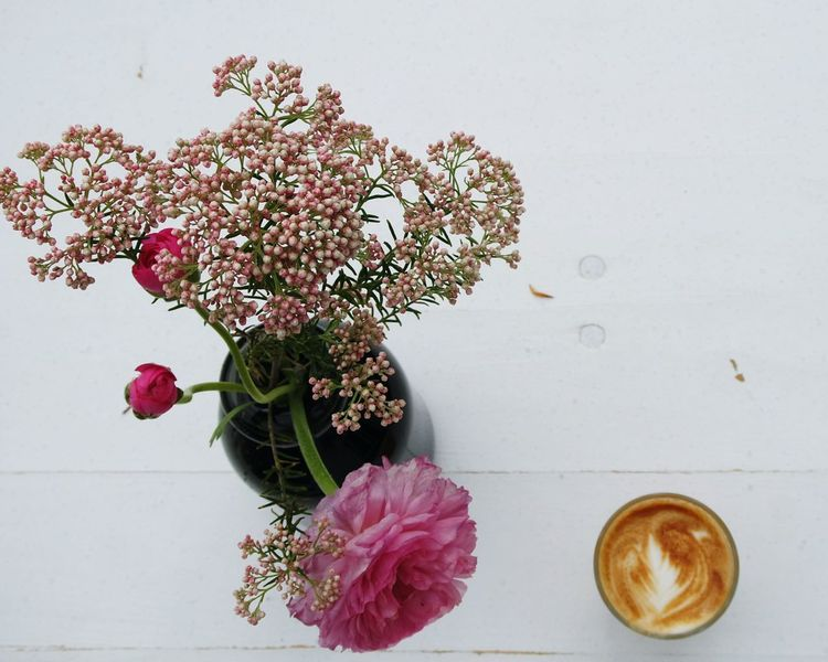 standing still... Look From Above Still Life Flowers On Table Coffeecup On Table Focus On Foreground