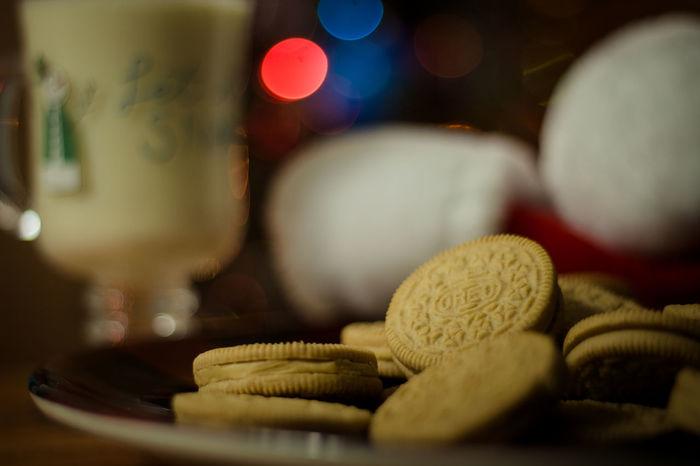 cookies for Santa Oreo Cookies For Santa EyeEm Selects Santa Snack Snack Food Egg Nog Eggnog Milk Treat Bokeh For Santa Santa's Treat Holidays Santa's Santa's Hat Christmas Night Before Christmas Christmas Tree Christmas Bokeh Background Indoors  No People Night Close-up