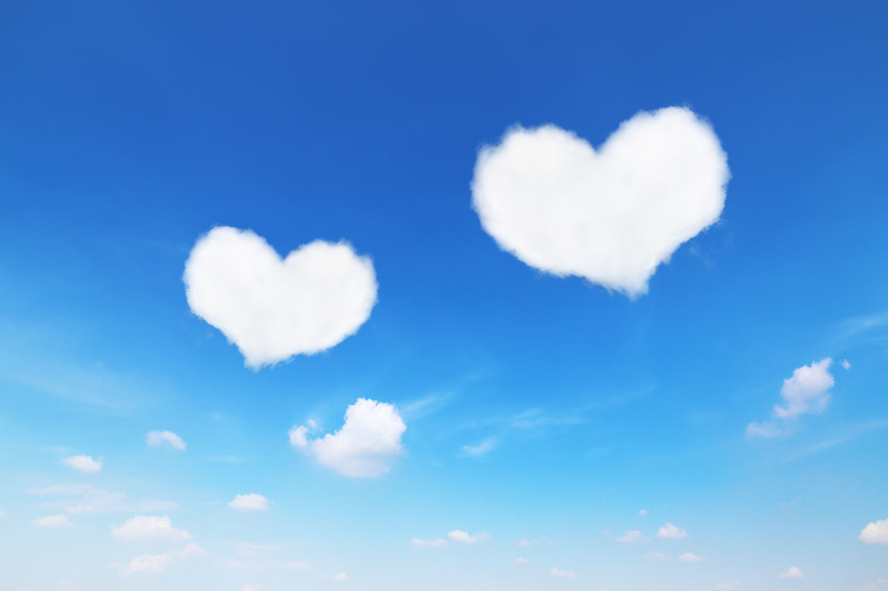 cloud - sky, sky, heart shape, beauty in nature, love, blue, tranquility, nature, low angle view, positive emotion, day, white color, no people, scenics - nature, emotion, tranquil scene, outdoors, backgrounds, idyllic, valentine's day - holiday, meteorology