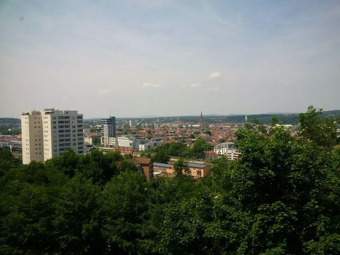 Ausblick vom Fritz-Walter-Stadion bei Tag dank geputzter Fenster schön Kontrastreich Original Photography Z30