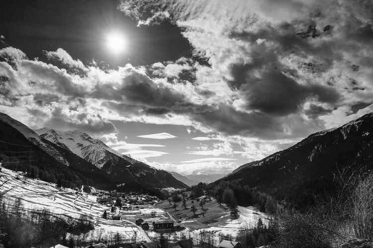Switzerland Mountain Sky Scenics Beauty In Nature Landscape Tranquility Nature Cloud - Sky Blackandwhite Black And White Black & White
