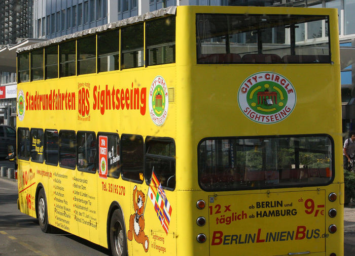 A Taste Of Berlin Berlin City Tour Bus Yellow Tourist Bus Close-up Communication Day Land Vehicle Mode Of Transport No People Outdoors Text Transportation Yellow Berlin Love Paint The Town Yellow #FREIHEITBERLIN