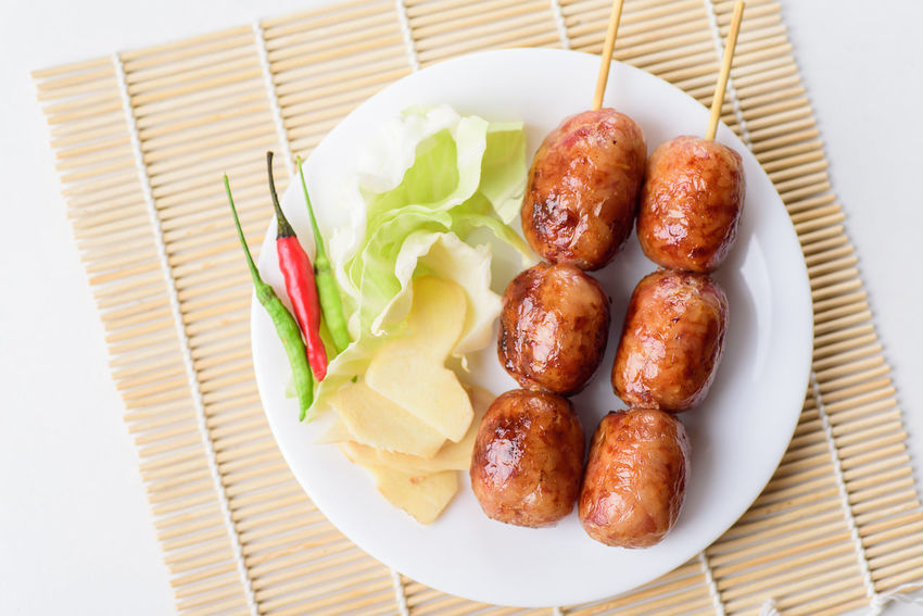 Thai sausage Homemade Food Spicy Thai Sausage Appetizer Chili  Close-up Fermentation Food Food And Drink Freshness Healthy Eating High Angle View Meal Meat Plate Ready-to-eat Sausage Snack Still Life Table Top View Of Food Vegetable
