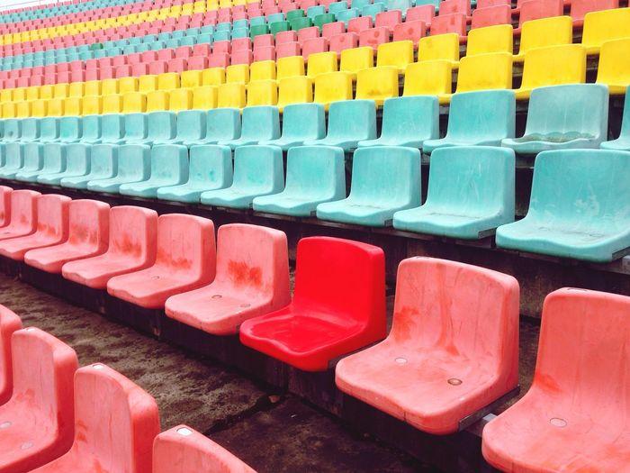 Full frame shot of multi colored seats