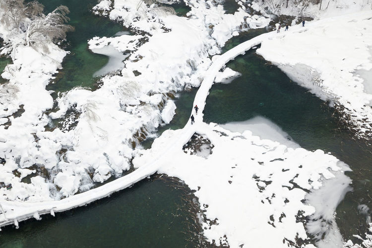 High angle view of frozen lake during winter