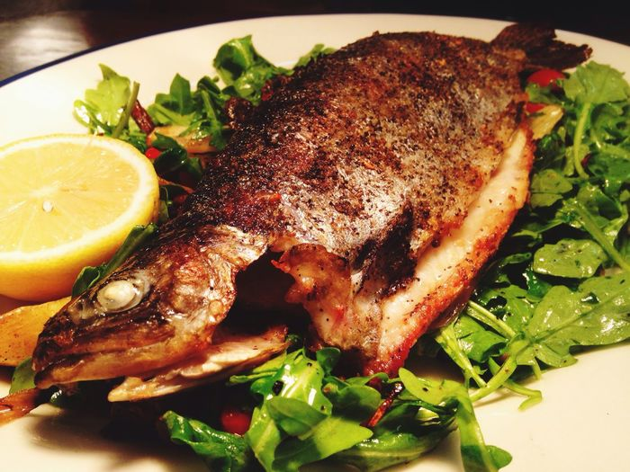 Whole Trout Healthy Eating Meal Meat Roasted Food And Drink SLICE Barbecue Arugula Healthy Lifestyle Gourmet Close-up Serving Size Ready-to-eat Freshness No People Garnish Roast Dinner Rib Roast Chicken