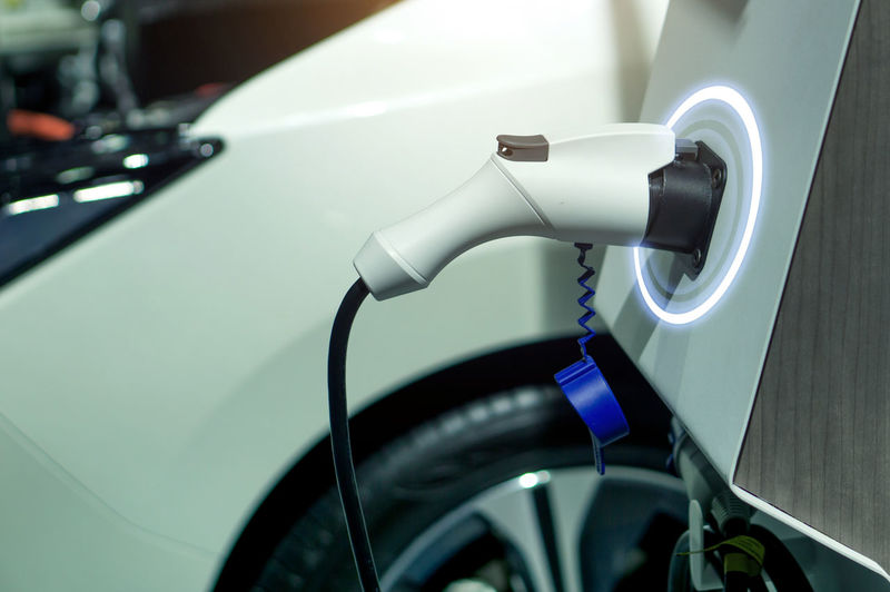 Close-up of electric car charger