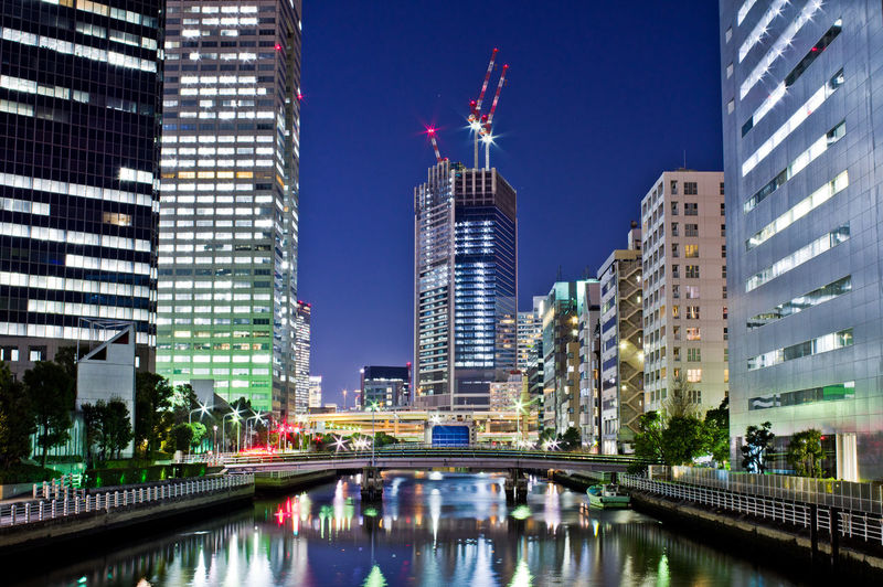Architecture Built Structure Building Exterior City Building Office Building Exterior Skyscraper Modern Water Tall - High Reflection Office Tower Sky Travel Destinations Illuminated Waterfront Cityscape No People Financial District  Japan Tokyo Night Canal Tokyo Japan Photography