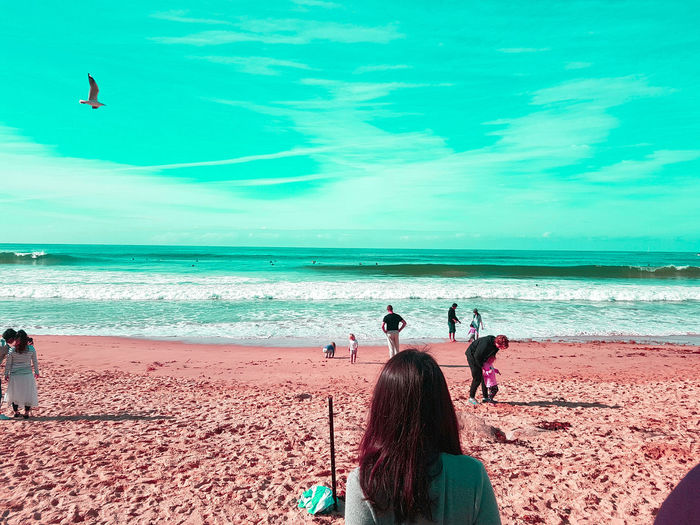 Beach Sea Sand People Waves Ocean Hanging Out Family Teal Skies Tritanomaly Manly Beach Experimental Photography Neon Life