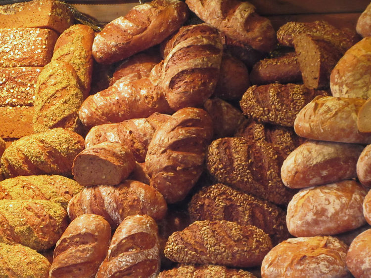 Many mixed breads and rolls background Artisanal Background Bakery Barley Bread Bun Dough European  Flour Food Gluten Grain Loaf Many Mixed Roll Rustic RYE Seed Shapes Snack Sunflower Seed Variety Wheat Wheat Flour
