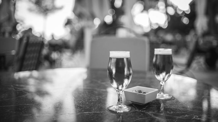 Beer Blackandwhite Bokeh Close-up Drinking Glass Mallorca Sunset Table Vacations
