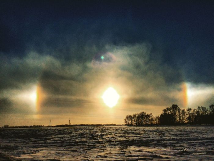 Sun Cold Temperature Nature Snow Winter Beauty In Nature Sky Outdoors Tranquility No People Sun Dogs In The Sky