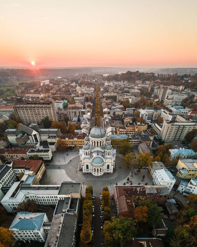 Kaunas Soboras Aerial View Drone  Aerial Panorama Urban City Evening Sunset Lithuania Lietuva City Life High Angle View Architecture Church Aerial Photography No People Laisves Aleja Freedom Avenue Downtown Autumn Postcard Baltic Countries Phantom 4 Pro