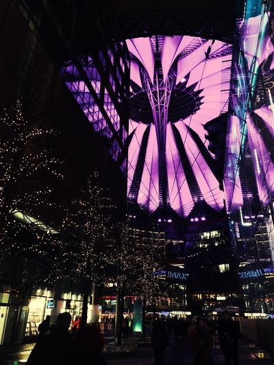 Sony Center Berlin Potzdamer Platz Iphonephotography Night Illuminated Architecture Built Structure Arts Culture And Entertainment Celebration City Lighting Equipment