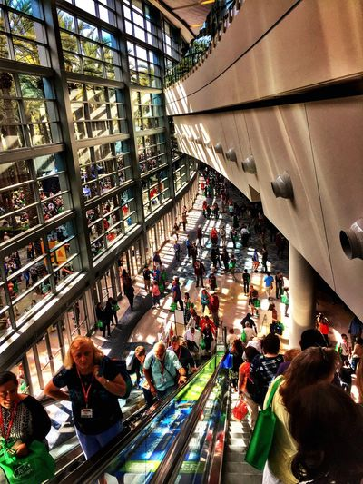 People Mover Escalator Lookingdown Going Down Windows Convention 2015 RE Congress HDR