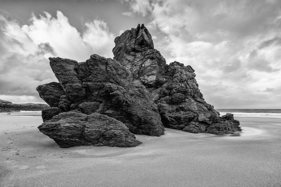 Durness Beach Rock Scotland Swimming Beach Beauty In Nature Bw Cloud - Sky Day Durness Horizon Over Water Nature No People Outdoors Rock - Object Rock Formation Sand Scenics Sea Sky Tranquil Scene Tranquility Water Black And White Friday
