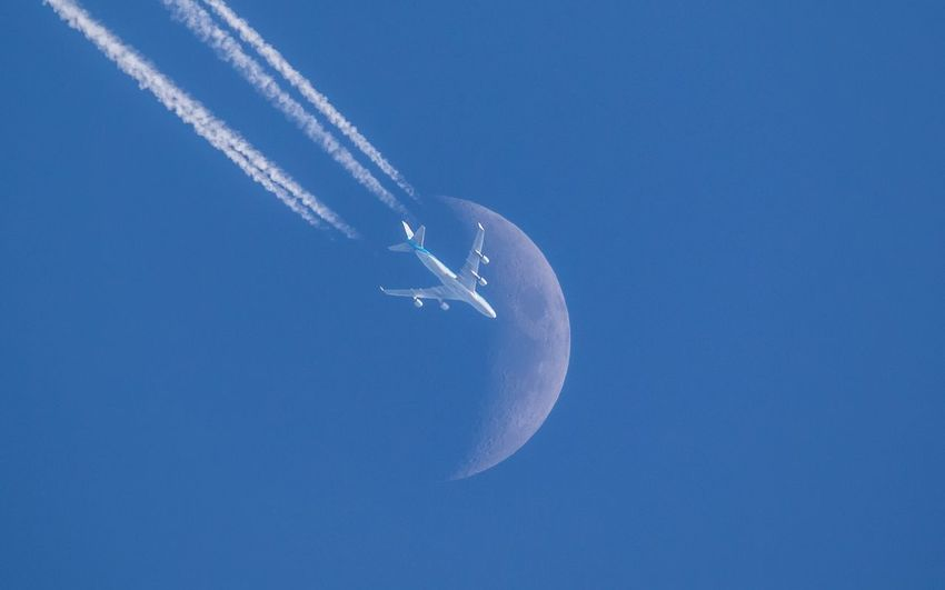 Take me to the moon Air Vehicle Sky Airplane Blue Flying Vapor Trail Mode Of Transportation Motion Cloud - Sky Moon