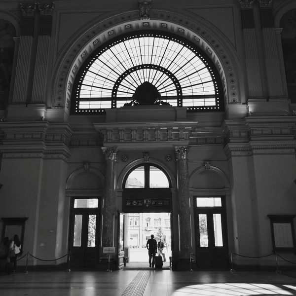 Blackandwhite Photography Black And White Photography Leica Black And White HuaweiP9 Huaweiphotography Ralwaystation Arrived Entrance Architecture MÁV Keleti Railway Station Budapest Hungary Train Station Mobilephotography Railway Train Trainstation