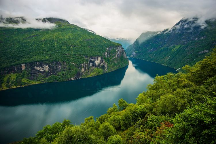 Scenic Norwegian Fjord Landscape During Cloudy Summer Day. Flame Natural Nature Norway Scandinavia Europe Fjord Lansscape Norwegian Scenery Scenics Sea
