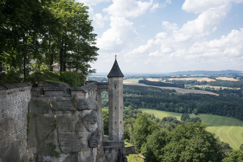 Another item on our holiday checklist ticked off - Königstein Stronghold, an impressive rock formation looking over the Elbe river Festung Königstein Postcard Rock Rock Wall Sky And Clouds Landscape Sandstone Scenics Stronghold Tower