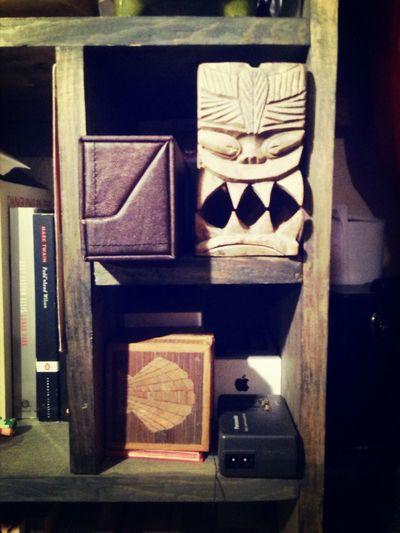 Chris's bedroom bookshelf 2 Things On A Shelf What's On Your Shelf? Tiki God Life Is A Beach