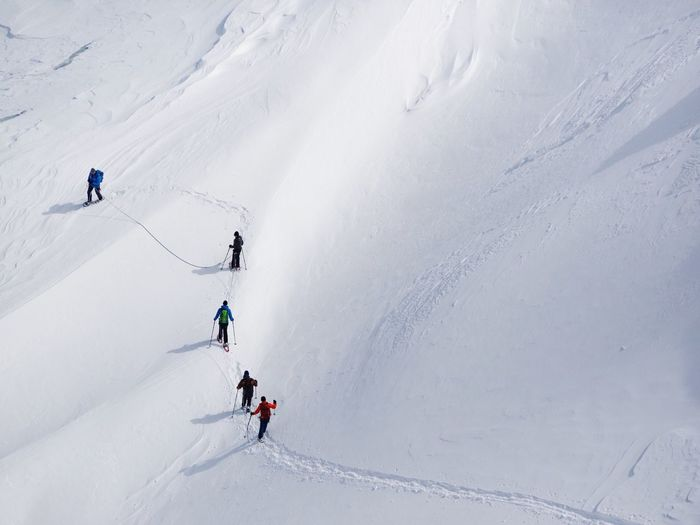 Glacier Swissalps Snowshoeing Snowcapped Mountain Snow Winter Sport Sport Skiing Winter Cold Temperature Mountain High Angle View Adventure Leisure Activity Holiday Group Of People White Color Mountain Range My Best Photo