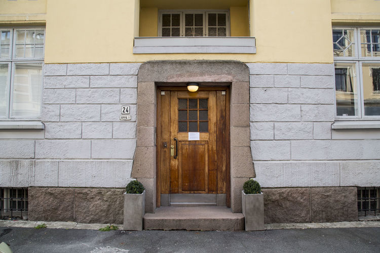 Architecture Building Exterior Built Structure Closed Closed Door Day Door Doorway Entrance Entry Entryway Façade Front Door Historic History House Oslo Norway Outdoors Residential Building Residential Structure Window