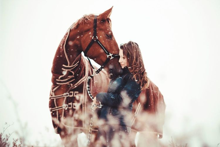 Woman With Horse In Winter