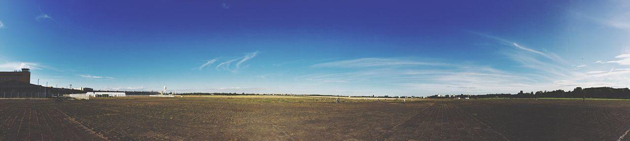 Panoramic view of tempelhofer park against sky