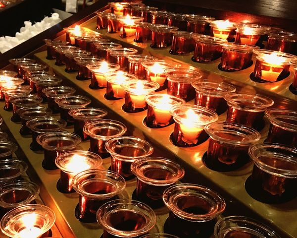 Prayer Candles St Patrick's Cathedral New York City Church Illuminated Glowing Candle No People