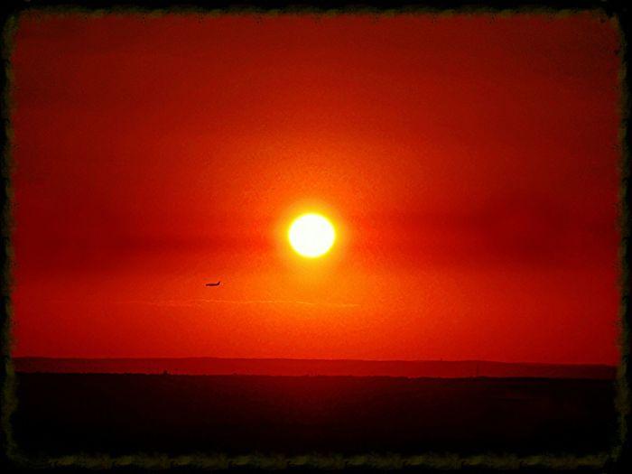 Sunset Orange Evening Sun Sunandplane Rightplacerighttime