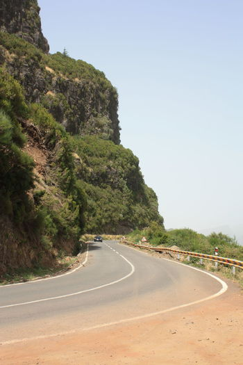 Vehicle on curved road against lush foliage