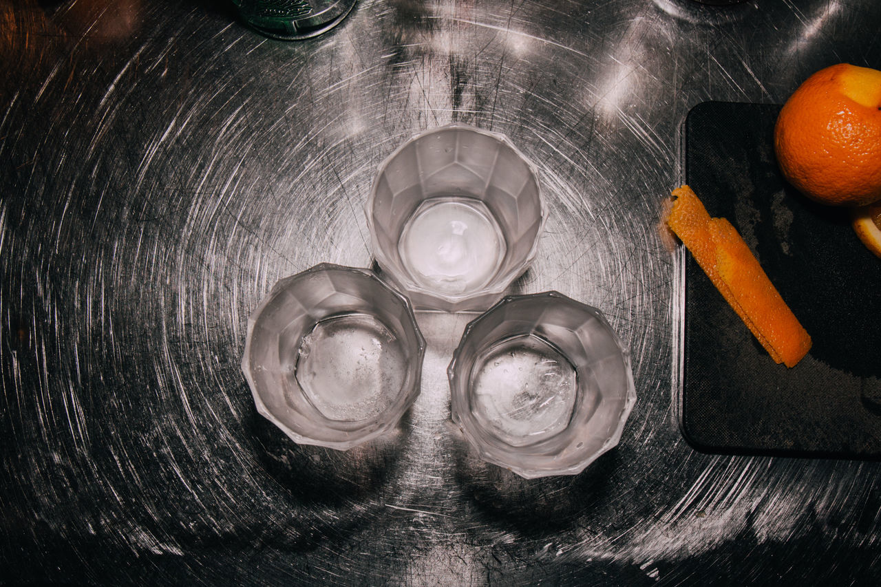 High Angle View Of Empty Glasses On Table