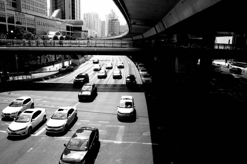 GRlll Ricoh Shanghai Mode Of Transportation Car Road Land Vehicle Motor Vehicle City Life Bridge Building Exterior Built Structure Street Transportation Bridge - Man Made Structure Water Connection City Architecture Day Real People High Angle View Nature