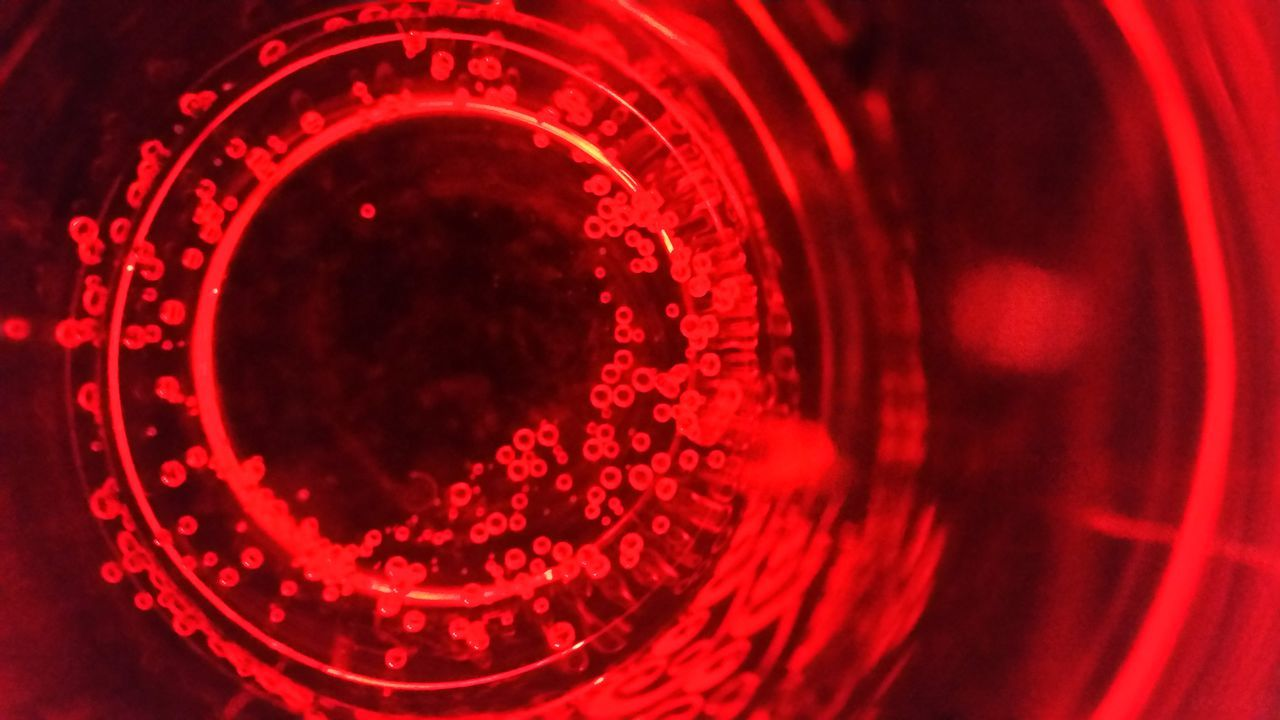 red, close-up, indoors, no people, illuminated