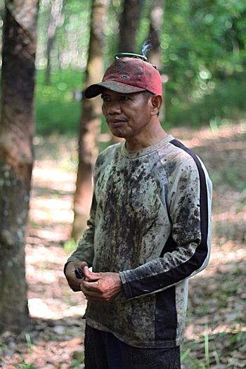 Rubber trees and a farmer. Kalimantan. Indonesia Taking Photos INDONESIA Kalimantan Selatan Borneo Nature Rubber Tree Rubber Plantation Petani Karet Petani Farmer Man