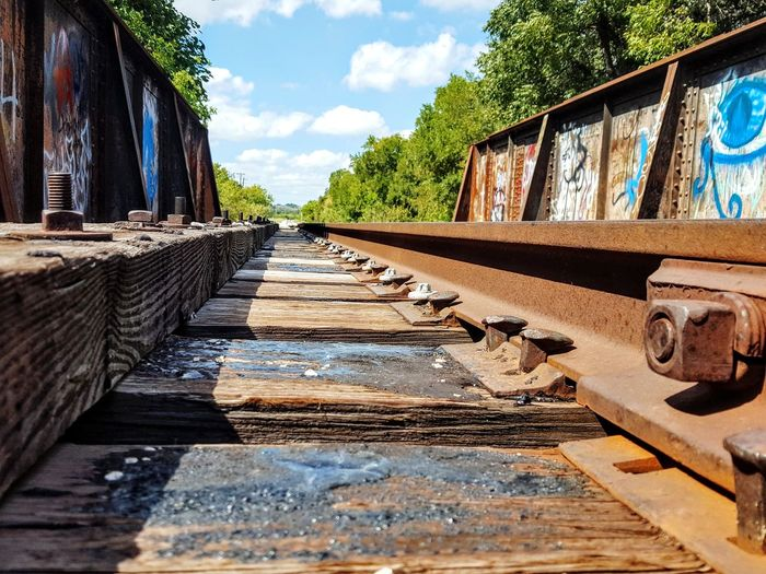 Rails Cloud - Sky Bridge - Man Made Structure Rust vanishing point Vanishing Perspective Texas Hill Country Texas Landscape Railroad Track Track Solo Vanishing