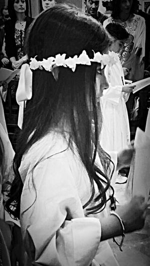 Into The Church My daughter's Eucharist Little Girl Excited Beautiful Girl Real People Real Life Blackandwhite