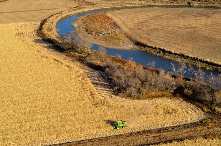 Harvest Autumn EyeEmNewHere James River South Dakota Aerial Aerial View Agriculture Combine Harvester Corn Crop  Ethanol Farm Farming Field Grain Landscape River Valley