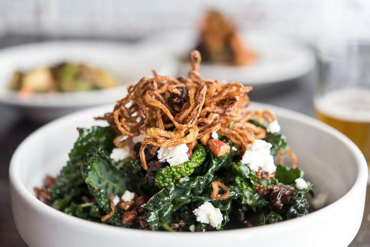 Close-up of kale salad