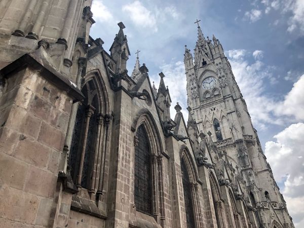 Low Angle View Religion Architecture Church Quito Place Of Worship Building Exterior Built Structure Day No People Travel Destinations Clock Tower Clock