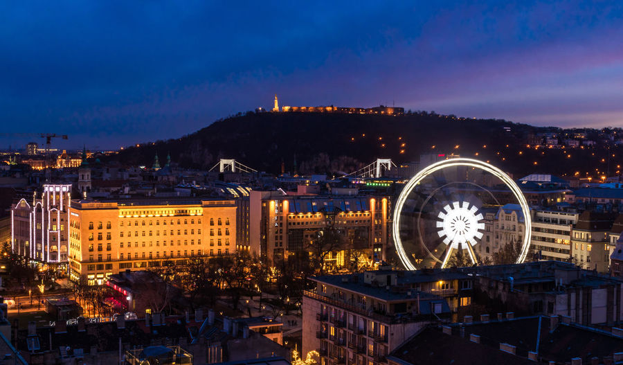 Budapest Budapest, Hungary Ferriswheel Architecture Building Exterior Built Structure City Cityscape Ferris Wheel Illuminated Night No People Outdoors Sky